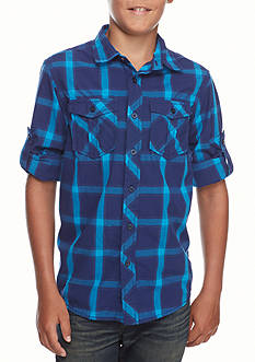 Red Camel Plaid Woven Tee Boys 8-20
