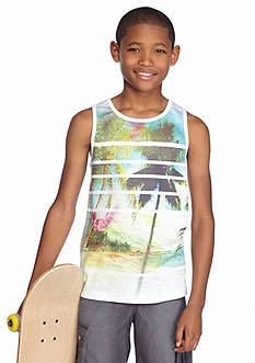Red Camel Printed Mesh Palm Tree Tank Top Boys 8-20
