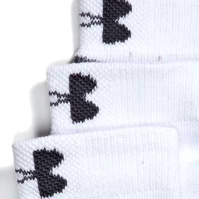 Boys Socks and Underwear: White Under Armour 3-Pack Low Cut Socks Youth Large