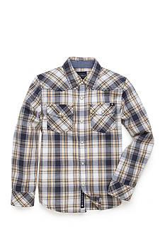Lucky Brand Plaid Woven Indigo Shirt Boys 4-7