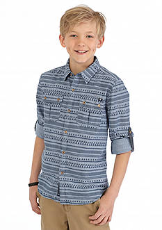 Lucky Brand Permanent Roll-Up Woven Shirt Boys 8-20