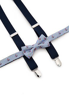 J Khaki™ Anchor Print Bow Tie and Adjustable Suspender Set Boys 4-20