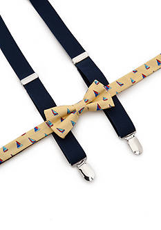 J Khaki™ Sail Boat Bow Tie and Adjustable Suspender Set Boys 4-20
