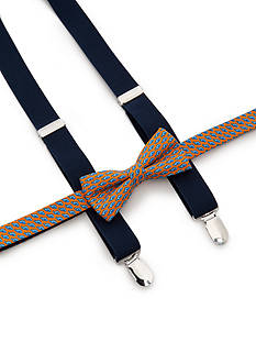 J Khaki™ Fish Print Bow Tie and Adjustable Suspender Set Boys 4-20