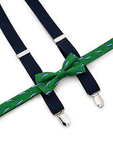 J Khaki™ Marlin Print Bow Tie and Adjustable Suspender Set Boys 4-20