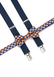 J. Khaki Gingham Check Bow Tie and Adjustable Suspender Set Boys 4-20