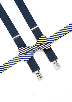 J. Khaki Stripe Bow Tie and Adjustable Suspender Set Boys 4-20
