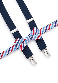 J Khaki™ Check Bow Tie and Adjustable Suspender Set Boys 4-20