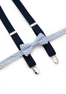 J Khaki™ Gingham Bow Tie and Adjustable Suspender Set Boys 4-20