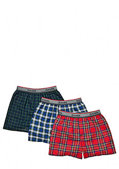 Hanes 3-Pack Woven Plaid Boxer Boys 4-20