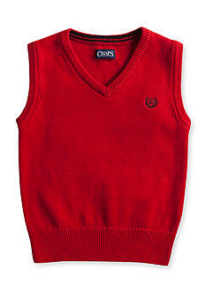 Chaps Solid Red Sweater Vest Boys 4-7