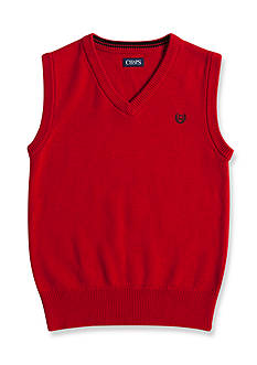 Chaps Solid Red Sweater Vest Boys 8-20