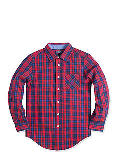 Chaps Long Sleeve Woven Plaid Button Down Shirt Boys 8-20
