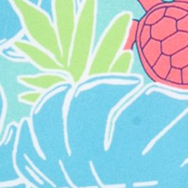 Little Boys Swimwear: Turquoise/ Coral Turtles J Khaki™ Swim Trunks Boys 4-7