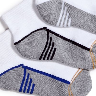 Boys Underwear: White/Multi Gold Toe 6-Pack Athletic Quarter Socks Boys 4-20
