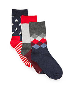 Happy Socks 3-Pack Stars and Stripes Crew Socks Boys 4-20