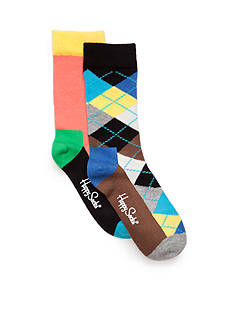 Happy Socks 2-Pack Colorblock and Argyle Sock Set