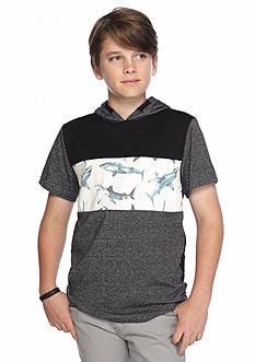 Ocean Current Shark Hooded Tee Boys 8-20