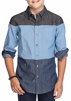 Ocean Current Color Block Woven Shirt Boys 8-20
