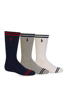Ralph Lauren Childrenswear 3-Pair Striped Crew Socks Boys 4-20