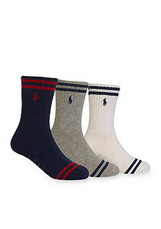 Ralph Lauren Childrenswear 3-Pair Striped Crew Socks Toddler Boys