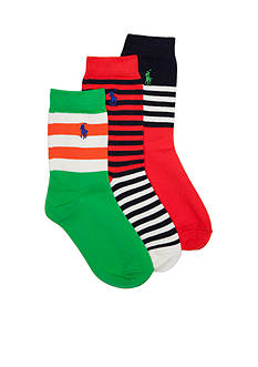 Ralph Lauren Childrenswear 3-Pack Fashion Stripe Crew Socks Boys 4-20