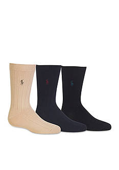 Ralph Lauren Childrenswear 3-Pack Ribbed Dress Sock Boys 4-20