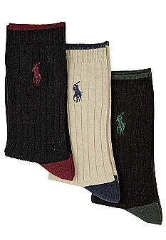Ralph Lauren Childrenswear 3-Pack Ribbed Dress Socks Boys 4-20