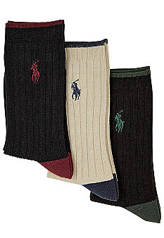 Ralph Lauren Childrenswear 3-Pack Ribbed Dress Socks Toddler Boys