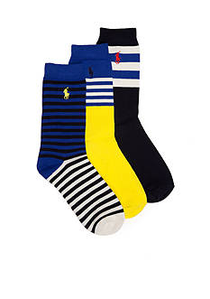 Ralph Lauren Childrenswear 3-Pack Fashion Mixed Stripe Socks