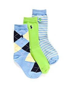 Ralph Lauren Childrenswear 3-Pack Gentsy Argyle Trouser Socks