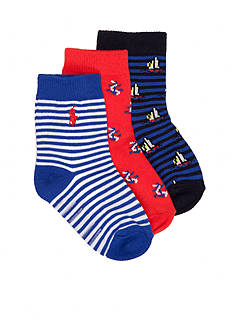 Ralph Lauren Childrenswear 3-Pack Nautical Boats & Stripe Socks