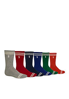 Ralph Lauren Childrenswear 6-Pack Striped Athletic Crew Socks Boys 4-20
