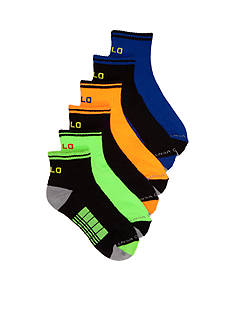 Ralph Lauren Childrenswear 6-Pack Athletic Double Bar Stripe Quarter Socks