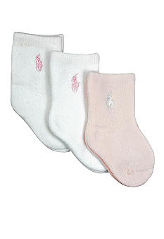 Ralph Lauren Childrenswear 3-Pack Full Terry Crew Sock