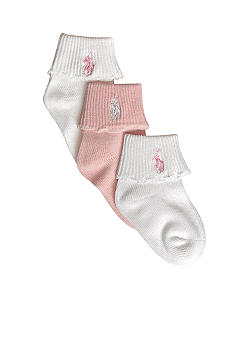 Ralph Lauren Childrenswear 3-Pk Cuffed Socks