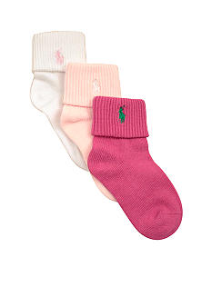 Ralph Lauren Childrenswear 3-Pk Cuffed Socks - Girls 4-16