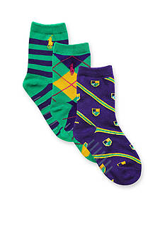 Ralph Lauren Childrenswear 3-Pack Multi-Print Crew Socks Toddler Girls