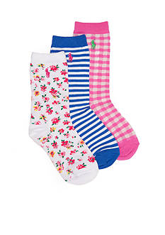 Ralph Lauren Childrenswear 3-Pack Spring Floral Socks Girls 4-16