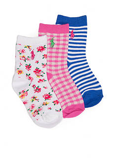 Ralph Lauren Childrenswear 3-Pack Spring Floral, Stripe, and Gingham Socks Girls 4-16