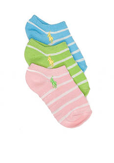 Ralph Lauren Childrenswear 3-Pack Birdseye Stripe Socks Girls 4-16