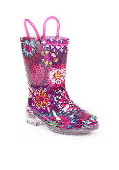 Western Chief Abstract Bloom Lighted Rain Boot - Girl Infant/Toddler/Youth Sizes 8 - 1