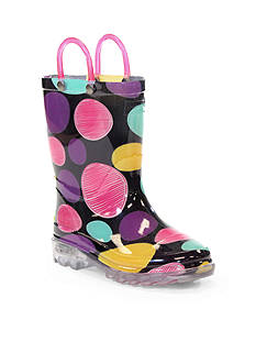 Western Chief Doodle Dot Light Up Rain Boot - Girl Infant/Toddler/Youth Sizes 8 - 1