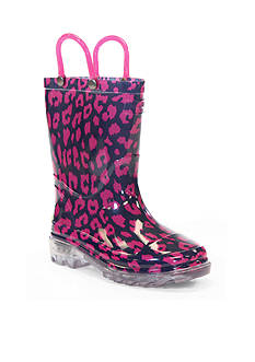 Western Chief Wild Cat Lighted Rain Boot - Girl Infant/Toddler/Youth 8 - 1