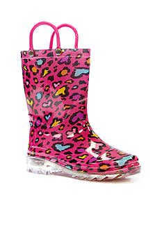 Western Chief Cutie Leopard Light Up Rain Boot- Infant/Toddler/Youth Sizes