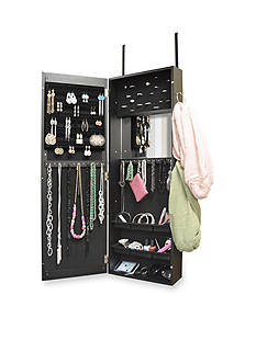 New View Jewelry Cabinet With Scarf Hooks - Black