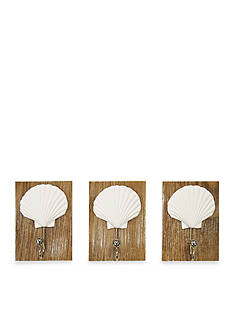 New View Scallop Shell Hooks Set of 3