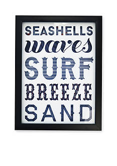 New View Seashells Waves Surf Breeze Sand Glass Shadowbox