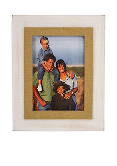 New View Burlap Filet White 5x7 Frame