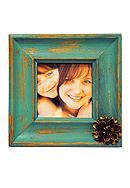 New View Stylish Statements Teal with Bronze Flower Weathered Detail 4x4 Frame